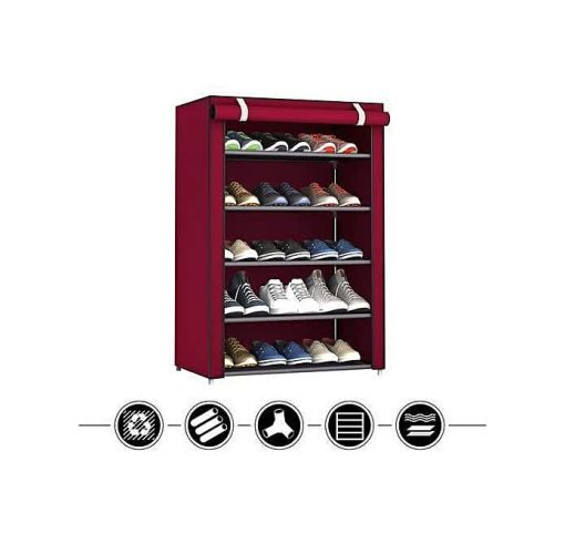 Onitshamarket - Buy 5 Step Shoes Rack With Fabric Cover Mobile Wardrobes