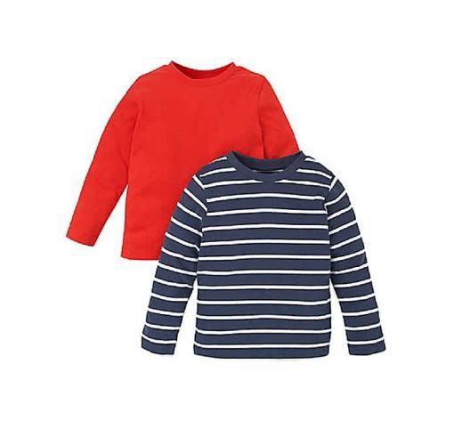 Onitshamarket - Buy Navy Breton Stripe And Red T-Shirts - 2 Pack