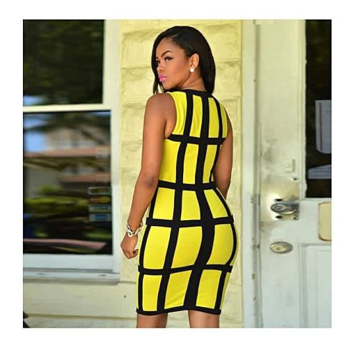 Onitshamarket - Buy Fashion Sexy Women Dress Bandage Cocktail Sleeveless Bodycon Evening Party Dresses Yellow