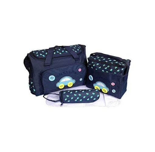 Onitshamarket - Buy 4pcs In 1 Mummy Handbag Diaper Pad Bottle Holder Food Bags Mom's Shoulder Bag Big Capacity Navy Color
