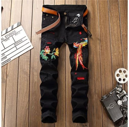 Onitshamarket - Buy AFankara Men Levis Style Embroidery Broken Hole Jeans-Black Clothing