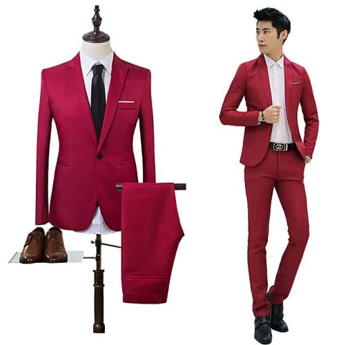 Onitshamarket - Buy Yingwoo Black Suit Men Blazers Stage Costumes For Singers Men 2 Pieces Mens Formal Suits Groom Tuxedo Business Suit Men Suit Fashion-red