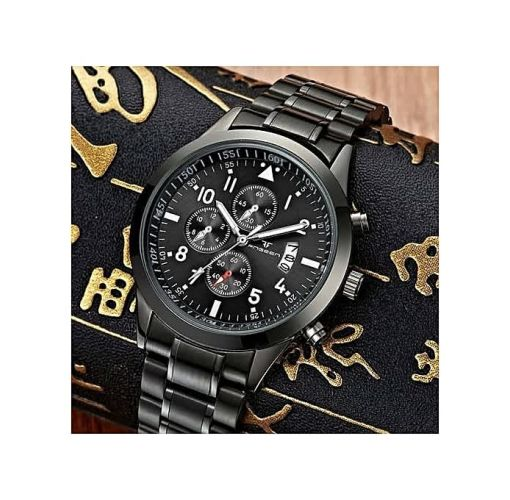 Onitshamarket - Buy Luxury Studded Unisex Bracelet Wristwatch With Date - Black