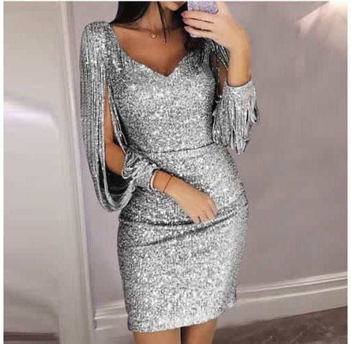 Onitshamarket - Buy Women's Skirt Fashion V-neck Sexy Tassel Slim Dress Clothing