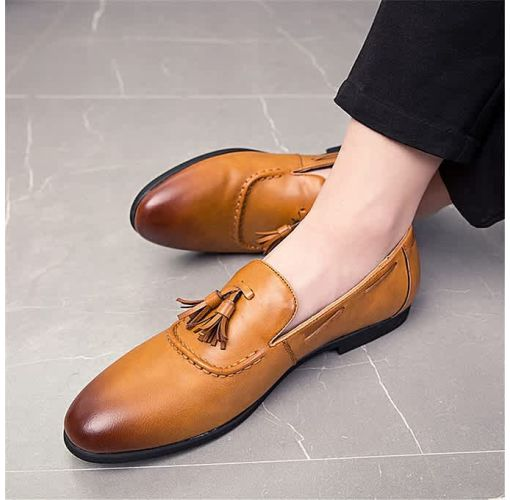 Onitshamarket - Buy Men Genuine Leather Shoes Tassel Boats Formal Moccasins Casual Loafers (Brown)