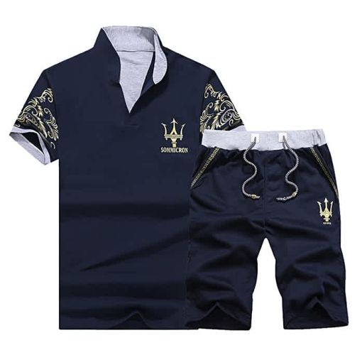 Onitshamarket - Buy Fashion 2 Piece Set Fashion Men's Short Sleeve Shorts-Dark Blue Clothing