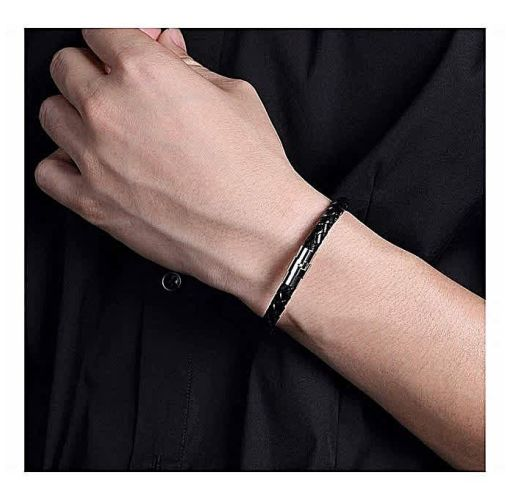 Onitshamarket - Buy Round Leather Bracelet With Silver Lock Men's Jewelry