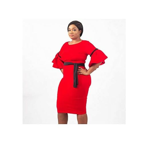 Onitshamarket - Buy Virtue Clothier Adele Contrast Bell Sleeve Midi Dress