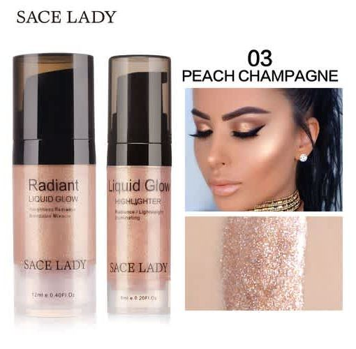 Onitshamarket - Buy SACE LADY Illuminator Makeup Highlighter Cream Face Brighten Professional Shimmer Make Up Liquid Glow Kit Beauty Brand Cosmetic