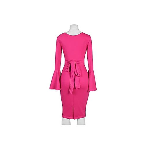 Onitshamarket - Buy Pink Dress With Bell Sleeves Clothing