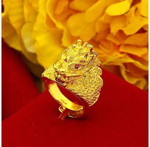 Onitshamarket - Buy Mens Ring Gold-plated Copper Male Ring Does Not Discolor Men's Jewelry