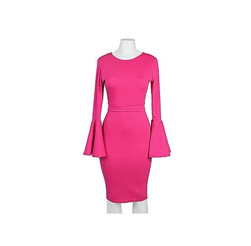 Onitshamarket - Buy Pink Dress With Bell Sleeves