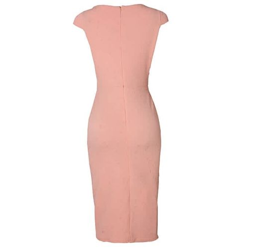 Onitshamarket - Buy Cap Sleeve Fitted Corporate Wrap Dress - Peach Clothing