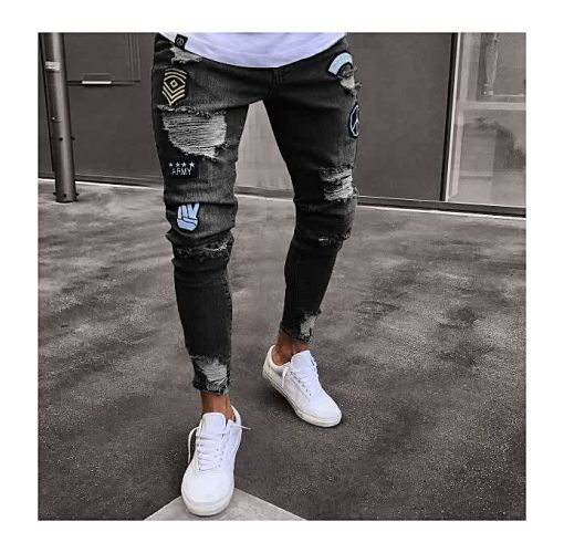 Onitshamarket - Buy Men Feet Badge Jeans Men's Trends Knee Hole Zipper Feet Hole Denim Trousers Jeans For Men-black - Fashion