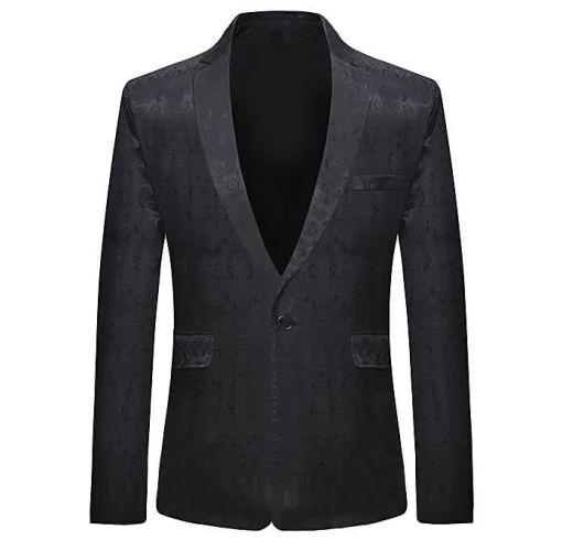 Onitshamarket - Buy AFankara One Button Vintage Print Blazer - Black Clothing