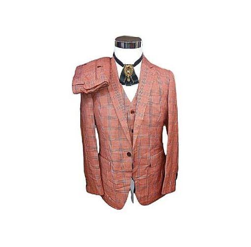 Onitshamarket - Buy Fashion 3 Piece Men's Suit - Orange Check Clothing