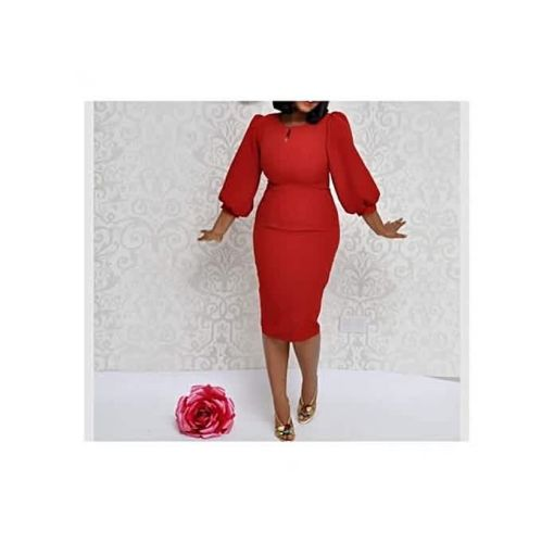 Onitshamarket - Buy Puffy Sleeve Midi Dress - Red