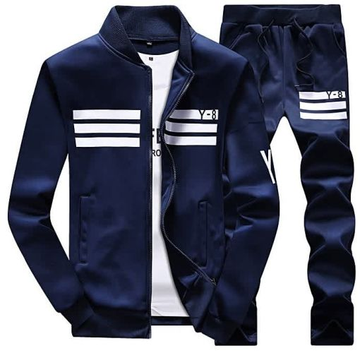 Onitshamarket - Buy Blue Fashion Spring Autumn Men's Hoodies Sports Suit Solid Casual Baseball Jacket Y8 Print Coat+trousers