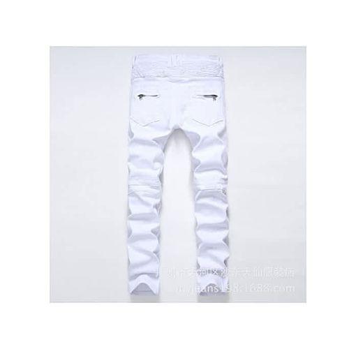 Onitshamarket - Buy Mens Skinny Jean Distressed Slim Elastic Jeans Denim Biker Jeans Hip Hop Pants Washed Ripped Jeans Plus Size 28-42-white