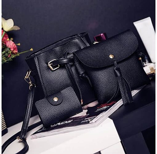 Onitshamarket - Buy Universal - Women Four Set Fashion Handbag Shoulder Bag Four Pieces Tote Bag Crossbody Wallt - Universal