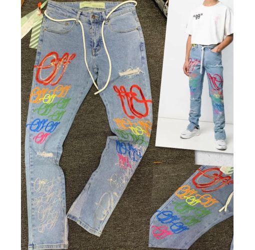 Onitshamarket - Buy Off-White Multicolor Embroidered Denim Cargo Pants