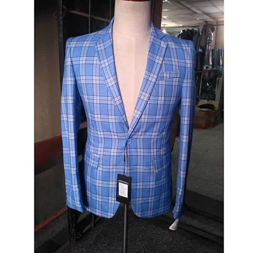 Onitshamarket - Buy Blazers Men's Suit Checkers - Pale Blue - Fashion