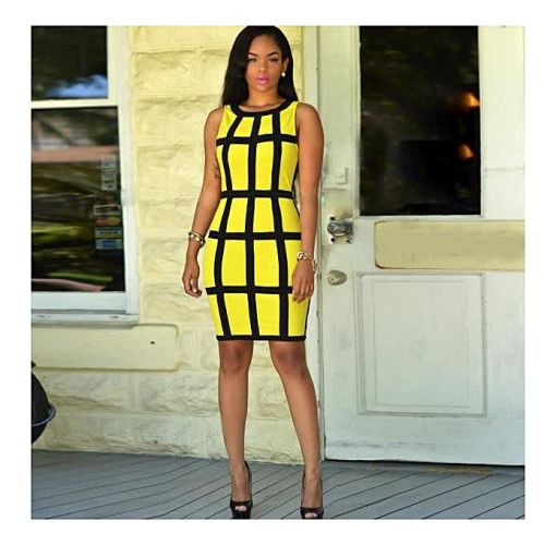 Onitshamarket - Buy Fashion Sexy Women Dress Bandage Cocktail Sleeveless Bodycon Evening Party Dresses Yellow Clothing