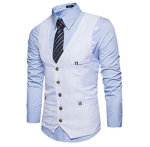 Onitshamarket - Buy Fashion Men Casual Slim Fit Single Breasted Tuxedo Vests Waistcoats Men Chalecos Para Hombre-WHITE Clothing