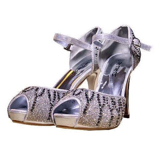 Onitshamarket - Buy Mimis Ladies Glittering Shoe & Bag - Silver Shoes and Bags