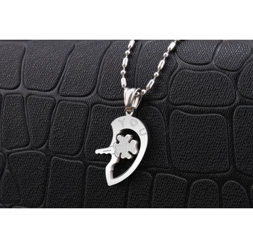 Onitshamarket - Buy Fashion Diamond Key Heart Pendant Puzzle Titanium Steel Couple Necklace