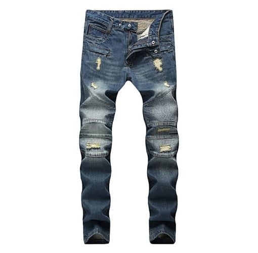 Onitshamarket - Buy AFankara Slim Fit Biker Jeans With Holes, Pleated Blue Jeans-Blue