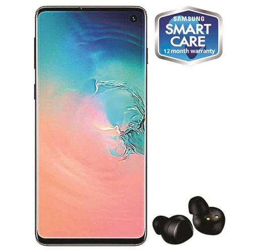 Onitshamarket - Buy Samsung Galaxy S10 6.1-Inch AMOLED (8GB, 128GB ROM) Android 9.0 Pie, 12MP + 12MP + 16MP Dual SIM 4G Fingerprint Smartphone - Prism White (+ Free Samsung Earbuds)
