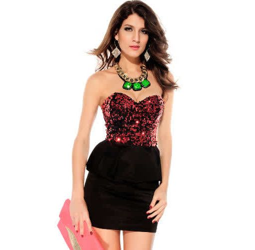 Onitshamarket - Buy Sequin Strapless BL Top Peplum Mini Dress Clothing