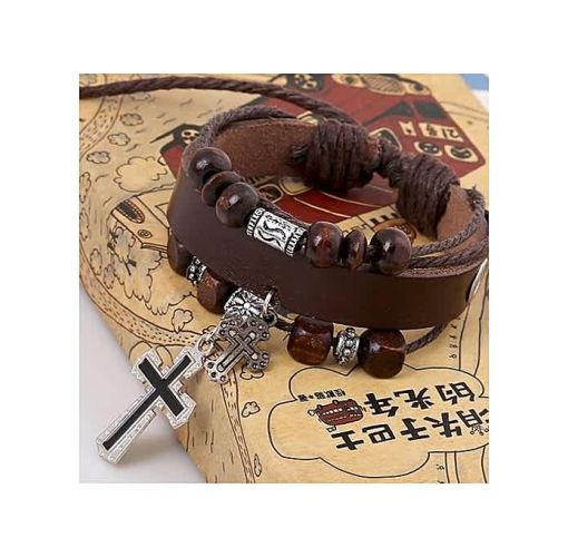 Onitshamarket - Buy Fashion Fashion Cross Woven Hand Chain Top Layer Leather Alloy Charm Bracelets Brown