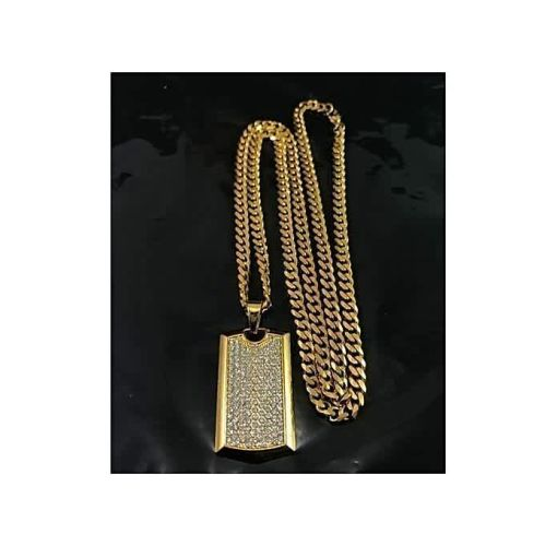 Onitshamarket - Buy Gold Cuban Link Chain With Iced Tag Pendant