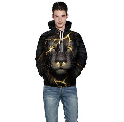 Onitshamarket - Buy Unisex Long Sleeve Lightning Lion 3D Printed Hooded Hoodies Sweatshirts PHMWY3D068