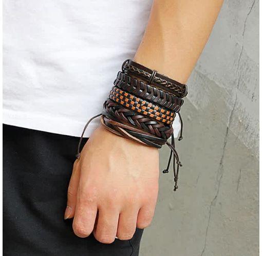 Onitshamarket - Buy Men Leather Weaving Bracelet Set 6PCS