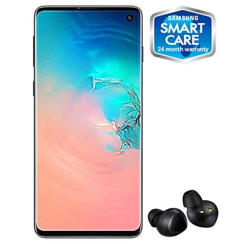 Onitshamarket - Buy Samsung Galaxy S10 6.1-Inch Android 9.0 Pie, 12MP + 12MP + 16MP Dual SIM 4G Fingerprint Smartphone - Prism White (+ Free Samsung Earbuds)
