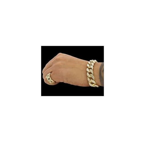 Onitshamarket - Buy Fashion Cuban Gold Hand Chain And Ring Men's Jewelry