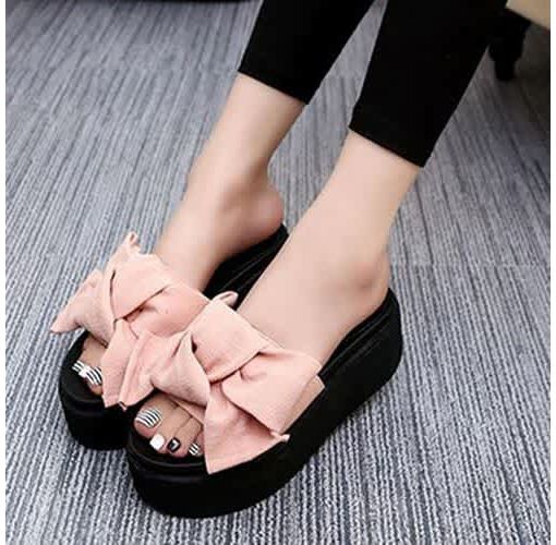 Onitshamarket - Buy Women Summer Slippers Casual Fish Mouth Bowtie Platform Sandals Beach Shoes Sandals and Slippers
