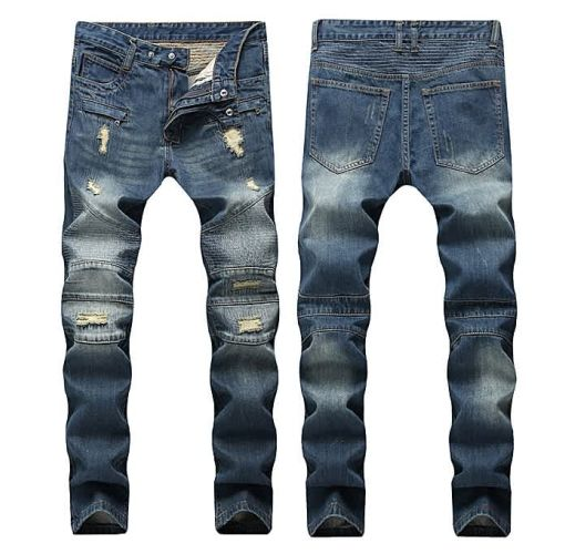Onitshamarket - Buy AFankara Slim Fit Biker Jeans With Holes, Pleated Blue Jeans-Blue Clothing