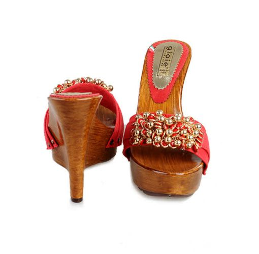 Onitshamarket - Buy Gioie Red Jeans Fabric Wedge With Gold Accessorises