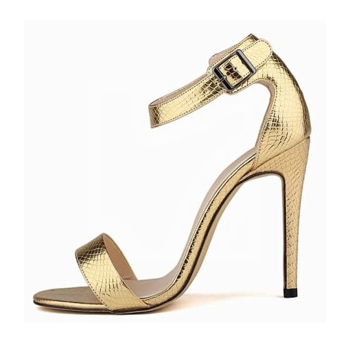 Onitshamarket - Buy generic Loslandifen Open Toe Stiletto Heels With Ankle Strap - Gold Clothing