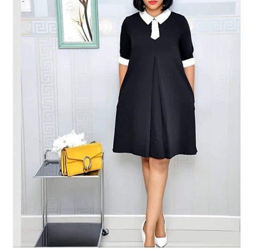 Onitshamarket - Buy Black With White Collar Shift Dress - Black