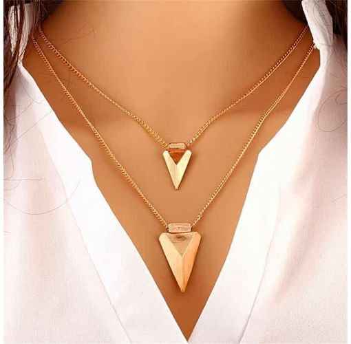 Onitshamarket - Buy Women's Two-layer Metal Pendant Chain Necklace