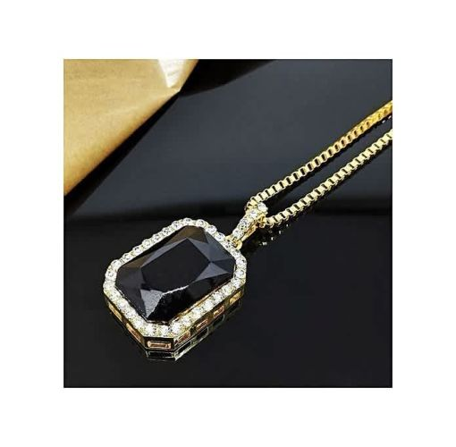 Onitshamarket - Buy Men Cool Hip Hop Golden Box Chain Octagon Square Pendant Charm Necklace