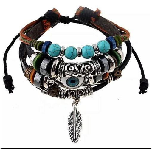 Onitshamarket - Buy Fashion Charm Evil Eye Bead/leather Bracelets With Feather Men's Jewelry