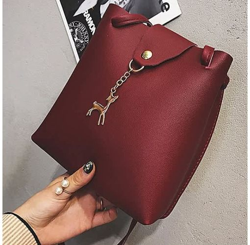 Onitshamarket - Buy generic Allwin Women Handbag Solid Color Shoulder Bag Storage Bag With Adjustable Strap Wine Red