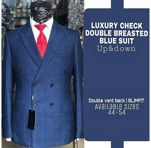Onitshamarket - Buy Fashion LUXURY CHECKER DOUBLE BREASTED SUIT