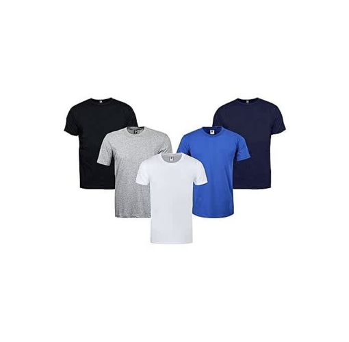 Onitshamarket - Buy Fashion Boss Men Pack Of 5 Round Neck Plain T-Shirts - Multi Color